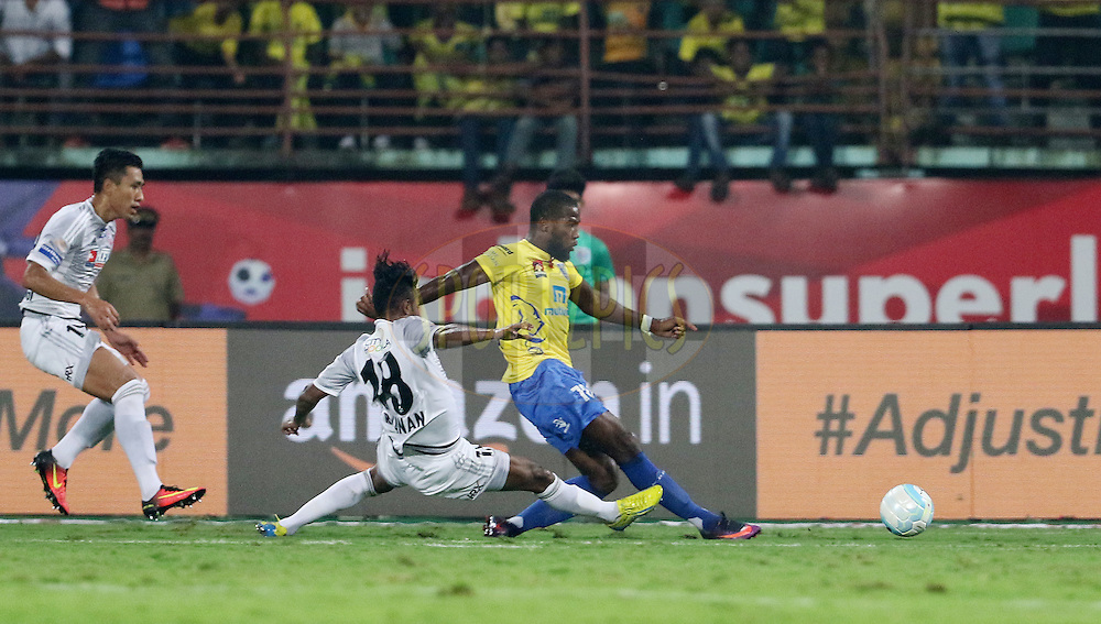Duckens Nazon of Kerala Blasters FC strikes the ball for a goal during match 48 of the Indian Super League (ISL) season 3 between Kerala Blasters FC and FC Pune City held at the Jawaharlal Nehru Stadium in Kochi, India on the 25th November 2016.<br /> <br /> Photo by Vipin Pawar / ISL / SPORTZPICS