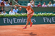 Yulia Putintseva (KAZ) serves during the preliminary rounds of the Roland Garros Tennis Open 2017 at  at Roland Garros Stadium, Paris, France on 2 June 2017. Photo by Jon Bromley.