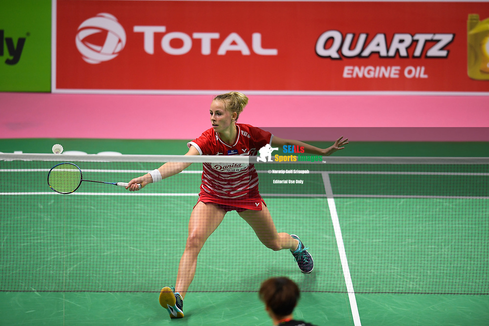 BANGKOK, THAILAND - MAY 24: Mia Blichfeldt of Denmark in action on Court 1 during her Quarter Finals match against Chen Yufei of China at the BWF Total Thomas and Uber Cup Finals 2018, Impact Arena, Bangkok, Thailand on May 24, 2018.<br /> .<br /> .<br /> .<br /> (Photo by: Naratip Golf Srisupab/SEALs Sports Images)<br /> .<br /> Any image use must include a mandatory credit line adjacent to the content which should read: Naratip Golf Srisupab/SEALs Sports Images