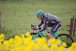 Rose Osborne (GBR) of Drops Cycling Team tackles a corner during the 2.8km time trial prologue of Elsy Jacobs - a stage race in Luxembourg in Luxembourg on April 29, 2016 in Luxembourg.