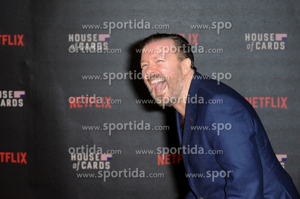 Ricky Gervais attends the World Premiere of 'House of Cards' Season 3 at The Empire Cinema on February 26, 2015 in London, England. EXPA Pictures &copy; 2015, PhotoCredit: EXPA/ Photoshot/ Euan Cherry<br /> <br /> *****ATTENTION - for AUT, SLO, CRO, SRB, BIH, MAZ only*****