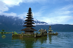 Temple Ulundanu, Lake Bereton, Bali, Indonesia, Asia,  photo bali209, Photo Copyright:  Lee Foster, www.fostertravel.com, 510-549-2202, lee@fostertravel.com, religion, prayer, worship, lake, water, clouds, structure, attraction, inspiring, inspiration, landscape, picturesque, scenic, splendor, vibrant, view, horizontal