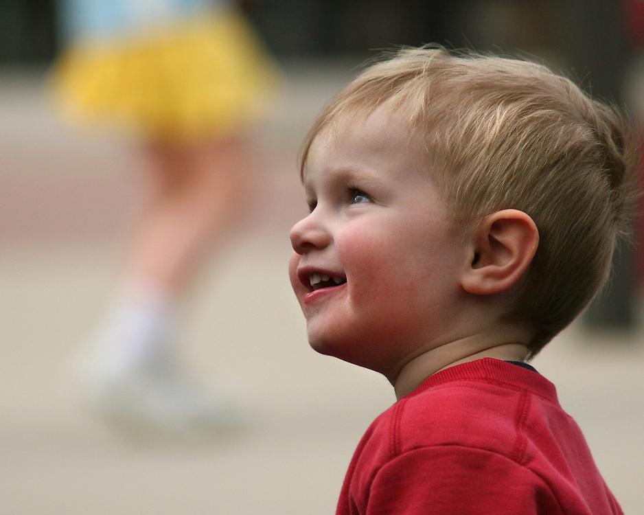 Enjoying himself at a local playground.