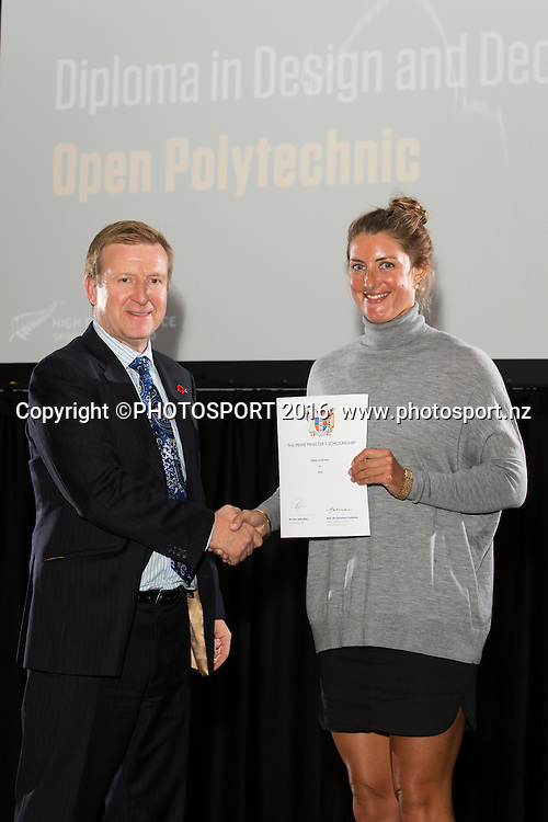 Hon. Jonathan Coleman presents certificate to Rowing Rebecca Scown at the High Performance Sport NZ Waikato ceremony for the Prime Minister's Scholarship Awards, at Sir Don Rowlands Centre, Lake Karapiro, Cambridge, New Zealand, 20 April 2016. Copyright Photo: Stephen Barker / www.photosport.nz