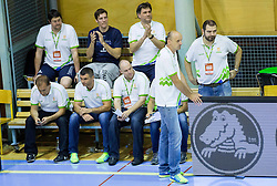 Matej Avanzo, Tomaz Brinec, assistant coach of Slovenia, Chris Thomas, assistant coach of Slovenia, Jure Zdovc, head coach of Slovenia and Stefanos Dedas, assistant coach of  of Slovenia during friendly basketball match between National teams of Slovenia and Georgia in day 2 of Adecco Cup 2014, on July 25, 2014 in Dvorana OS 1, Murska Sobota, Slovenia. Photo by Vid Ponikvar / Sportida.com