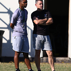 Michael Khumbuza (Kit Manager) of the Cell C Sharks with John Hooper (Masseur) of the Cell C Sharks during The Cell C Sharks training session at Growthpoint Kings Park in Durban, South Africa. 17th July 2017(Photo by Steve Haag)<br /> <br /> images for social media must have consent from Steve Haag