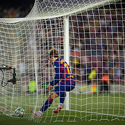 BARCELONA, SPAIN - August 25:  Antoine Griezmann #17 of Barcelona picks the ball out of the net after scoring his first league goal for the club during the Barcelona V  Real Betis, La Liga regular season match at  Estadio Camp Nou on August 25th 2019 in Barcelona, Spain. (Photo by Tim Clayton/Corbis via Getty Images)