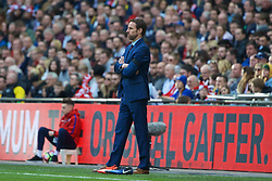 LONDON, ENGLAND - Sunday, March 26, 2017: England's manager Gareth Southgate during the 2018 FIFA World Cup Qualifying Group F match against Lithuania at Wembley Stadium. (Pic by Lexie Lin/Propaganda)