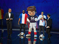 PARIS, FRANCE - Saturday, December 12, 2015: The Euro 2016 mascot Super Victor! with Ruud Gullit and Bixente Lizarazu during the opening ceremony of the UEFA Euro 2016 Championship at Le Palais des Congrès de Paris. (Pic by David Rawcliffe/Propaganda)