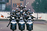 Cesena 1987..Center training of the Police of State..Policemen  in motocycle  during the training