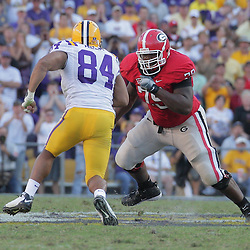 25 October 2008:  Georgia guard Justin Anderson (79) blocks LSU tight end Jake Bryan (84) during the Georgia Bulldogs 52-38 victory over the LSU Tigers at Tiger Stadium in Baton Rouge, LA.
