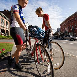 Biking on Main Street in St. Johnsbury, Vermont.