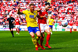 Michael Morrison of Birmingham City gets the ball from Richie Towell of Rotherham United - Mandatory by-line: Ryan Crockett/JMP - 22/04/2019 - FOOTBALL - Aesseal New York Stadium - Rotherham, England - Rotherham United v Birmingham City - Sky Bet Championship