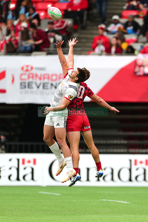 March 9, 2019 - Vancouver, BC, U.S. - VANCOUVER, BC - MARCH 09: Madison Hughes (10) of the United States jumps for the ball against George Gasson (10) of Whales during day 1 of the 2019 Canada Sevens Rugby Tournament on March 9, 2019 at BC Place in Vancouver, British Columbia, Canada. (Photo by Devin Manky/Icon Sportswire) (Credit Image: © Devin Manky/Icon SMI via ZUMA Press)