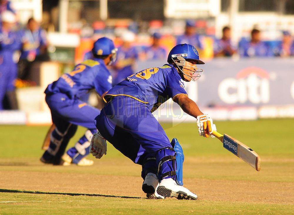 PORT ELIZABETH, SOUTH AFRICA - 2 May 2009.  Pathan turns for another runs mirrored by Raut during the  IPL Season 2 match between the Deccan chargers vs Rajasthan Royals held at St Georges Park in Port Elizabeth , South Africa.