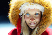 Cute blonde woman dressed as an elf. Lapland, Finland