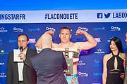 Cyril Leonet (fra) during the official weighing and press conference before the heavyweight boxing bout between Tony Yoka (FRA) and Cyril Leonet (FRA) on April 6, 2018 in Boulogne-Billancourt, France - Photo Pierre Charlier / ProSportsImages / DPPI
