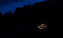 """THEMENBILD - am Sonnenwend-Wochenende wird in allen Teilen Tirols das Herz-Jesu Feuer entfacht. Die Feuer, die mit Fackeln an den Hängen der Berge gestaltet werden haben eine lange Tradition in Tirol und die Wurzeln dieses Brauchs gehen auf das 18. Jahrhundert zurück. Im Bild ein Feuer der Kirche in Form eines Kreuzes //  on the solstice weekend, there is the """"Herz-Jesu"""" rite in all parts of tyrol. The fires, which are decorated with torches on the slopes of the mountains, have a long tradition <br /> and the roots of this custom date back to the 18th century. In the picture a fire of Gerlos's mountain rescue in the form of a cross, Gerlos, Austria on 2017/06/23. EXPA Pictures © 2017, PhotoCredit: EXPA/ Jakob Gruber"""