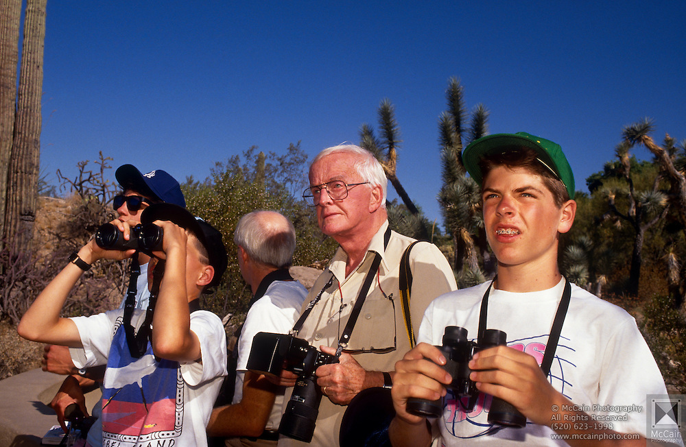 Barry Lyon. Victor Emanuel, Dan Chiaravalli and Roger Tory Peterson, Arizona-Sanora Desert Museum, Tucson, Arizona..Media Usage:.Subject photograph(s) are copyrighted Edward McCain. All rights are reserved except those specifically granted by McCain Photography in writing...McCain Photography.211 S 4th Avenue.Tucson, AZ 85701-2103.(520) 623-1998.mobile: (520) 990-0999.fax: (520) 623-1190.http://www.mccainphoto.com.edward@mccainphoto.com.