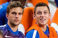 AMSTERDAM - Nederland - USA , Amsterdam ArenA , Voetbal , oefeninterland , 05-06-2015 ,  Stefan de Vrij (r) en Joel Veltman (l) beginnen op de bank