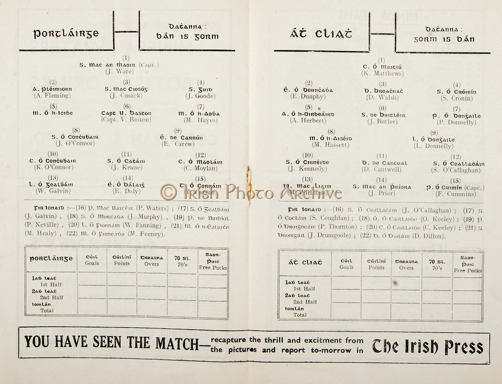 All Ireland Senior Hurling Championship Final,.Brochures,.05.09.1948, 09.05.1948, 5th September 1948, .Waterford 6-7, Dublin 4-2, .Minor Kilkenny v Waterford, .Senior Dublin v Waterford, .Croke Park, ..Waterford Senior Team, J Ware, Captain, Goalkeeper, A Fleming, Right corner-back, J Cusack, Full-back, J Goode, Left corner-back, M. O h-Icibe, Right half-back, Capt. V Baston, Centre half-back, M Hayes, Left half-back, J O'Connor, Midfielder, E Carew, Midfielder, K O'Connor, Right half-forward, J Keane, Centre half-forward, C Moylan, Left half-forward, W Galvin, right corner-forward, E Daly, Centre forward, T Curran, Left corner-forward, Substitutes, P Waters, J Galvin, J Murphy, P Neville, W Fanning, M Healy, M Feeney, ..Dublin Senior Team, K Matthews, Goalkeeper, E Dunphy, Right corner-back, D Walsh, Full-back, S Cronin, Left corner-back, A Herbert, Right half-back, J Butler, Centre half-back, P Donnelly, Left half-back, M Hassett, Midfielder, L Donnelly, Midfielder, J Kennedy, Right half-forward, D Cantwell, Centre half-forward, S O'Callaghan, Left half-forward, M Williams, Right corner-forward, J Prior, Centre forward, F Cummins, Captain, Left corner-forward, Substitutes, J O'Callaghan, S Coughlan, O Keeley, P Thorton, C Keeley, J Drumgoole, D Dillon,  ..Advertisements, The Irish Press,