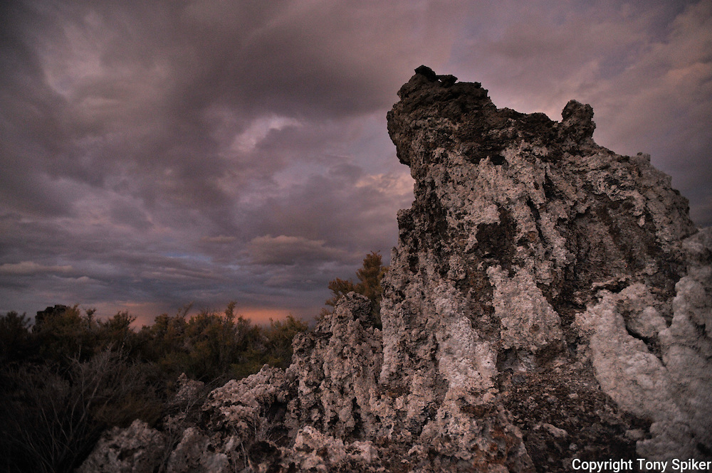 """Mono Lake Tufa at Sunset 2"" - A photograph of a storm clearing over the Tufa Towers at Mono Lake at sunset."