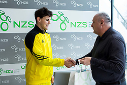 Dominic Thiem of Austria and Radenko Mijatovic, president of NZS at press conference prior to the friendly football match between NK Fantazisti (SLO) and 1st TFC - First Tennis & Football Club (AUT) presented by professional and former tennis players, on November 25, 2017 in Nacionalni nogometni center Brdo pri Kranju, Slovenia. Photo by Vid Ponikvar / Sportida