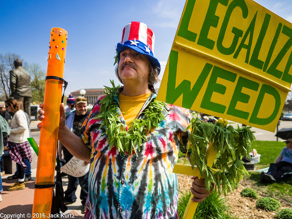 """20 APRIL 2016 - ST. PAUL, MN: A man who identified himself as """"Cool Breeze"""" at a marijuana legalization rally in St. Paul. About 100 people gathered at the Minnesota State Capitol in St. Paul and marched through downtown St. Paul calling for the decriminalization of marijuana. April 20 (4/20) has become a sort of counter culture holiday in the US, with marches in many cities calling for the legalization of marijuana.      PHOTO BY JACK KURTZ"""