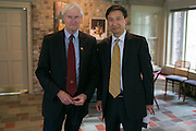 President Destler and Dr. Shou Chen, Vice President of Hunan University, at Liberty Hill on Saturday, October 25, 2014. Representatives from China's Hunan University were visiting to sign an agreement to open a join school of design in Shenzen, China.