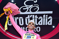 Podium, CONTADOR Alberto (ESP) Tinkoff Saxo Bank, Pink Leader Jersey during the Giro d'Italia 2015, Stage 5, La Spezia - Abetone (152Km) on May 13, 2015. Photo Tim de Waele / DPPI