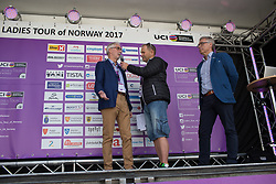 UCI President Brian Cookson is interviewed on the podium before Stage 2 of the Ladies Tour of Norway - a 140.4 km road race, between Sarpsborg and Fredrikstad on August 19, 2017, in Ostfold, Norway. (Photo by Balint Hamvas/Velofocus.com)