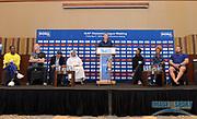 Steve Cram (GBR),  center, moderates a news conference at the Intercontinental Doha Hotel-The City, Thursday, May 2, 2019, in Doha, Qatar prior to the 2019 IAAF Diamond League Doha meeting. From left: Dina Asher-Smith (GBR), Sam Kendricks (USA), Sebastian Coe (GBR), Dr. Thani bin Abdulrahman al-Kuwari (QAT), Cram, Tianna Bartoletta (USA), Brianna Rollins McNeal (USA) and Tom Walsh aka Tomas Walsh (NZL). Jiro Mochizuki/Image of Sport via AP)