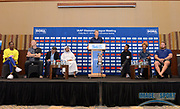 Steve Cram (GBR),  center, moderates a news conference at the Intercontinental Doha Hotel-The City, Thursday, May 2, 2019, in Doha, Qatar prior to the 2019 IAAF Diamond League Doha meeting. From left: Dina Asher-Smith (GBR), Sam Kendricks (USA), Sebastian Coe (GBR), Dr. Thani bin Abdulrahman al-Kuwari (QAT), Cram, Tianna Bartoletta (USA), Brianna Rollins McNeal (USA) and Tom Walsh aka Tomas Walsh (NZL). Jiro Mochizuki/Image of Sport via AP)