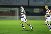 Forest Green Rovers Fabien Robert(26) celebrates his goal, 0-1 during the Vanarama National League match between Aldershot Town and Forest Green Rovers at the EBB Stadium, Aldershot, England on 4 October 2016. Photo by Shane Healey.