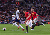 Football - 2018 / 2019 UEFA Nations League A - Group Four: England vs. Spain<br /> <br /> Marcus Rashford (England) breaks away from Sergio Ramos (Spain) and Nacho (Spain) at Wembley Stadium.<br /> <br /> COLORSPORT/DANIEL BEARHAM