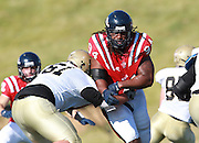 Samford defensive end Nicholas Williams gets through the block from Wofford T.J. White in the first half at Seibert Stadium in Homewood, Ala., Saturday, Oct 13, 2012. Samford defeats Wofford 24-17 in Overtime. (Marvin Gentry)