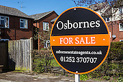 Osbournes For Sale sign outisde a property, Faornborough, Hampshire