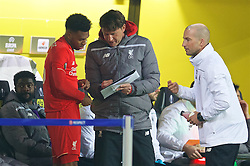 DORTMUND, GERMANY - Thursday, April 7, 2016: Liverpool's Daniel Sturridge receives last minute instructions from first team coach Peter Krawietz during the UEFA Europa League Quarter-Final 1st Leg match against Borussia Dortmund at Westfalenstadion. (Pic by David Rawcliffe/Propaganda)