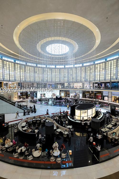 Interior of Fashion Avenue Atrium full of luxury fashion boutiques at Dubai Mall in United Arab Emirates