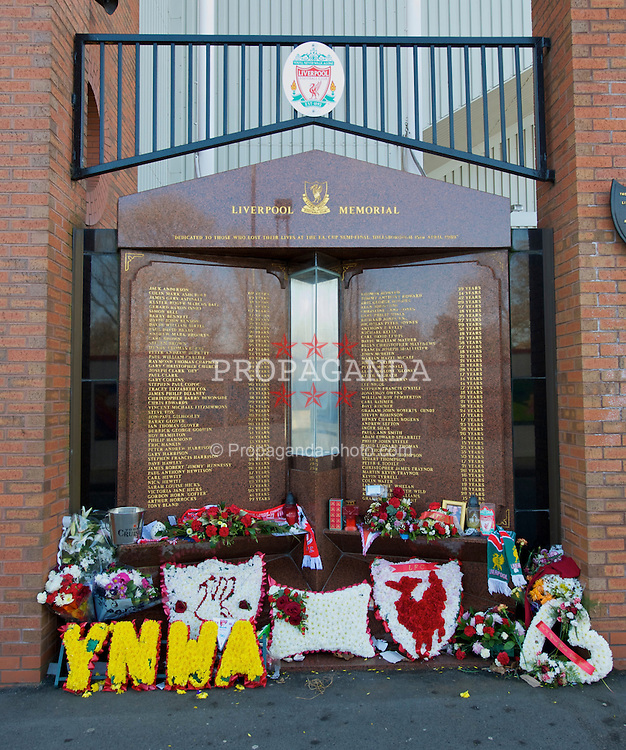 LIVERPOOL, ENGLAND - Monday, March 9, 2009: The Eternal Flame memorial to the 96 Liverpool supporters who were crushed to death at the FA Cup Semi-Final match at the Hillsborough Stadium Disaster in 1989. (Photo by David Rawcliffe/Propaganda)