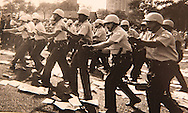 Police charge protesters in Grant Park during the Democratic Convention in 1968