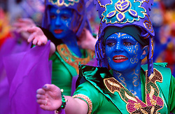"""IRELAND DUBLIN 17MAR00 - Catherine O'Brien, (18, R) and Nathalie Moore, (17, L) strike a pose during preparations for Dublin's St. Patrick's Day celebrations. The girls are part of the Inishowen Carnival Group which entertained with their theme """"Drumming down the Demons.""""..jre/Photo by Jiri Rezac..© Jiri Rezac 2000..Contact: +44 (0) 7050 110 417.Mobile:  +44 (0) 7801 337 683.Office:  +44 (0) 20 8968 9635..Email:   jiri@jirirezac.com.Web:     www.jirirezac.com..© All images Jiri Rezac 2000 - All rights reserved."""