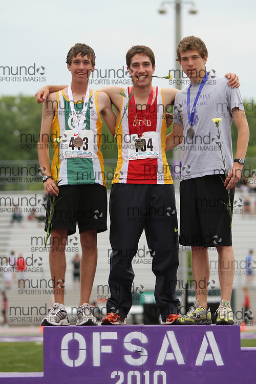 (London, Ontario}---04 June 2010) Rob Denault of Aurora - Aurora competing in the medal ceremony at the 2010 OFSAA Ontario High School Track and Field Championships in London, Ontario,  June 04, 2010. Photograph copyright Laura Barclay / Mundo Sport Images, 2010.