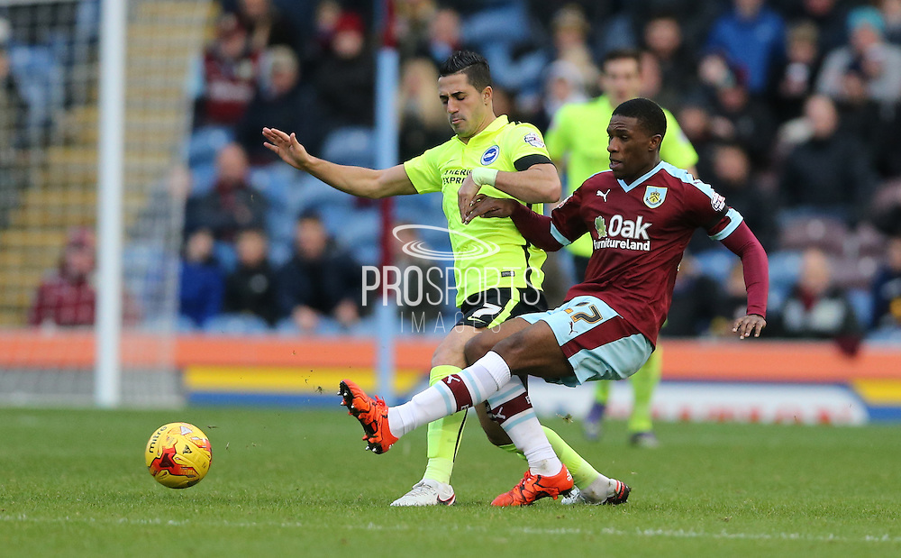 Burnley defender Tendayi Darikwa (27) during the Sky Bet Championship match between Burnley and Brighton and Hove Albion at Turf Moor, Burnley, England on 22 November 2015.