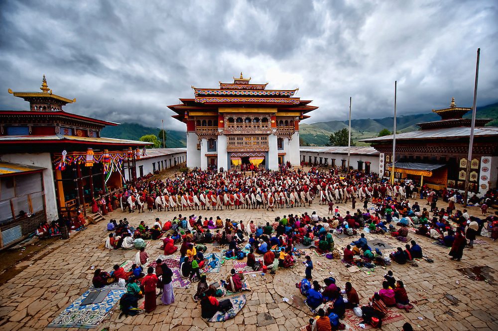 Asia, Tibet, Bhutan, Phobjikha, valley, Gangte, monastery, actor, actors, performer, performers, monk, monks, mask, cham, tsechu