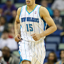 February 2, 2012; New Orleans, LA, USA; New Orleans Hornets power forward Gustavo Ayon (15) against the Phoenix Suns during the second half of a game at the New Orleans Arena. The Suns defeated the Hornets 120-103.  Mandatory Credit: Derick E. Hingle-US PRESSWIRE