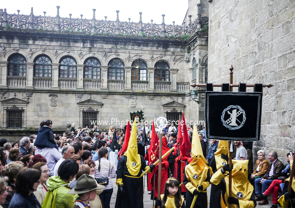 Spain, Galicia, Santiago de Compostela, procession of a brotherhood during the Holy Week
