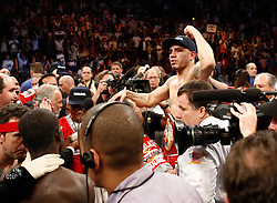 June 13, 2009; New York, NY, USA;  WBO Welterweight Champion Miguel Cotto celebrates his 12 round split decision over challenger Joshua Clottey at Madison Square Garden. Mandatory Credit: Ed Mulholland