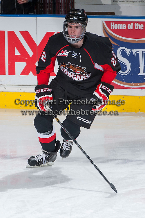 KELOWNA, CANADA -FEBRUARY 25: Peter Kosterman #22 of the Prince George Cougars warms up against the Kelowna Rockets on February 25, 2014 at Prospera Place in Kelowna, British Columbia, Canada.   (Photo by Marissa Baecker/Getty Images)  *** Local Caption *** Peter Kosterman;