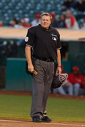 September 13, 2011; Oakland, CA, USA;  MLB umpire Gary Cederstrom (38) stands behind home plate during the first inning between the Oakland Athletics and the Los Angeles Angels at O.co Coliseum.  Los Angeles defeated Oakland 6-3.